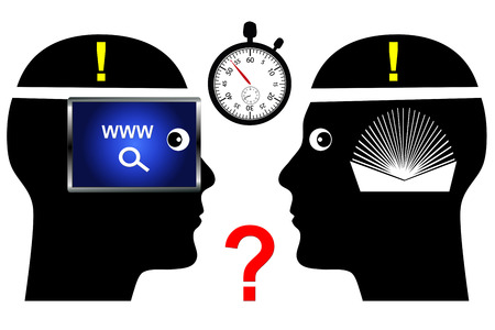 faster: Internet versus Books. Search online or consult a book, which method is faster and more reliable Stock Photo