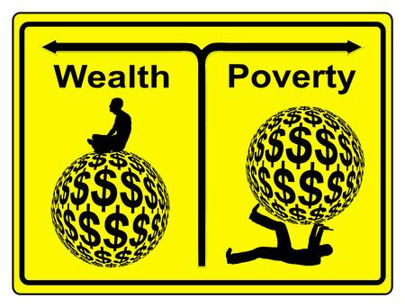 pobreza: Pobreza y Riqueza. Muestra del concepto de desigualdad social y económica y la brecha de riqueza en todo el mundo