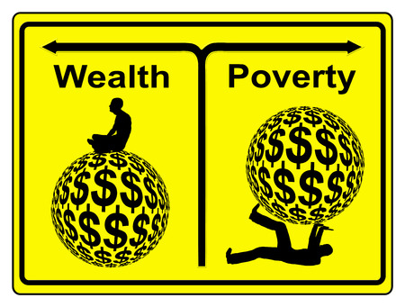 injustice: Poverty and Wealth. Concept sign of social and economic inequity and the worldwide wealth gap