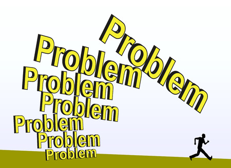insoluble: Unsolved Problem. Coward person running away from problems, which are getting bigger and bigger