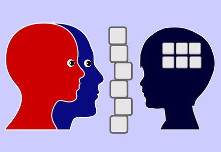 psicologia infantil: Hijo autista. Niño que tiene problemas con la comunicación y la interacción social, que viven en su propio mundo, está aislado detrás de un muro