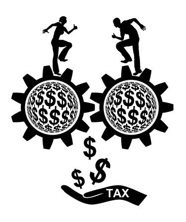 payer: Tax Payer. Couple with double income and corresponding high tax burden Stock Photo