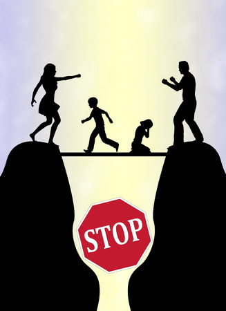 strife: Stop the Family Fight. Concept sign to avoid or end domestic violence with children as main victims