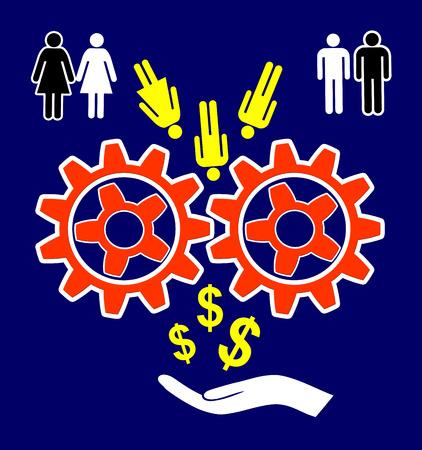 exploitation: Management Malpractice. Exploitation of human resources for profits Stock Photo