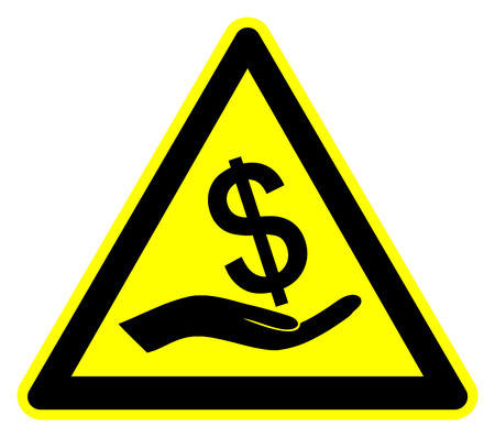 bribery: Caution Bribery. Concept sign to fight against bribes and corruption Stock Photo
