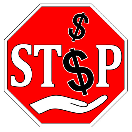 Stop Bribes. Concept sign to fight against bribery and corruption Stock Photo