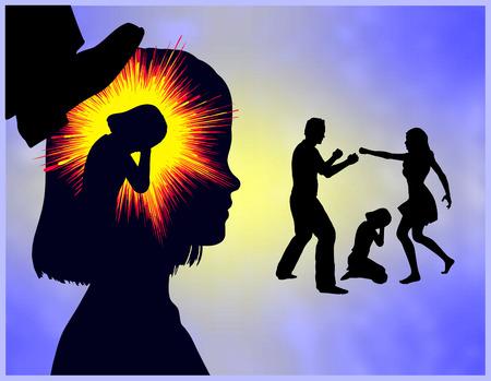 psicologia infantil: Trauma de la niñez. Chica con experiencia traumática a través de la violencia doméstica en la familia Foto de archivo