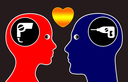 opposites: Opposites attract. Concept that man and woman are attracted to opposites personalities