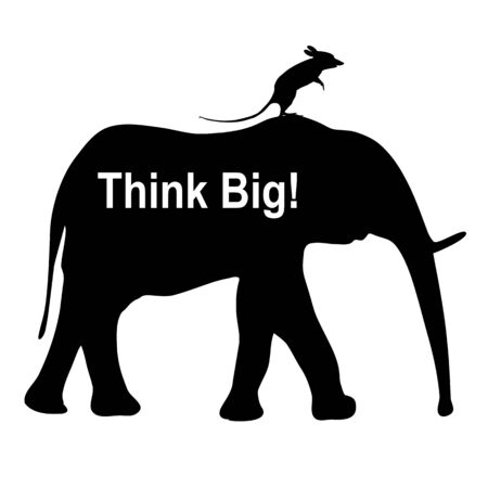 think big: Think Big. Mouse riding an elephant as business metaphor for imagination and vision