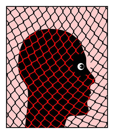 lockup: Amnesty. Conceptual design of a prisoner waiting to be released from jail Stock Photo