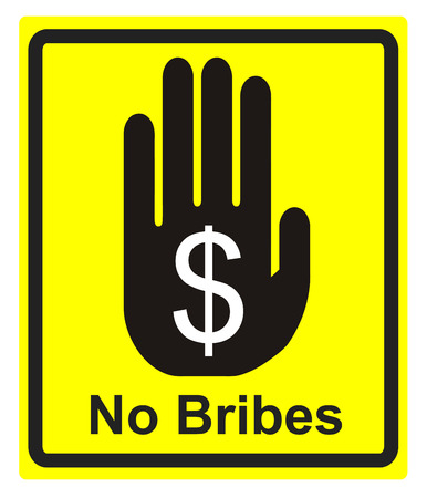 against: No Bribes Please. Concept sign to fight against bribes and corruption