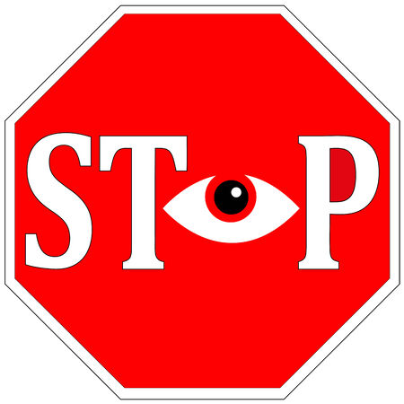 Stop Surveillance. Conceptual sign against tracing and control in your daily life photo