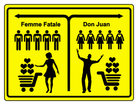femme: Femme Fatale and Don Juan. Concept sign of a female and a male heart breaker