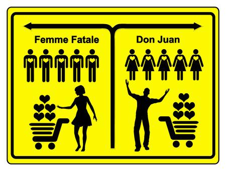 heartbreaker: Femme Fatale y Don Juan. Muestra del concepto de una hembra y un macho rompecorazones