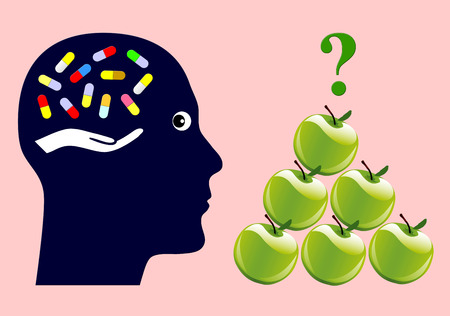 recommendations: Apples or Pills. Dietary supplements like vitamin pills or simply fruits for healthy diet