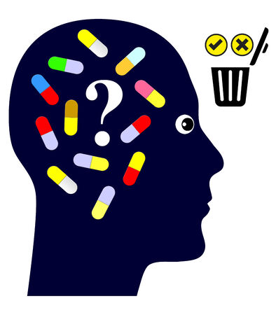 addicted: Taking Pills or not. Person deciding to discontinue medication or drug addiction or not Stock Photo