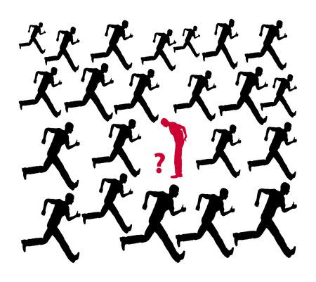 no correr: Piense dos veces. No seguir a la multitud o el com�n de la humanidad