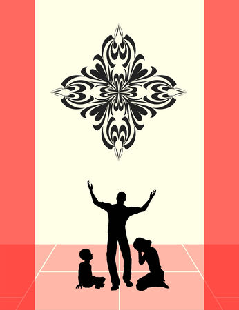 clemency: Family Prayer. Concept sign for a religious life praising God Stock Photo