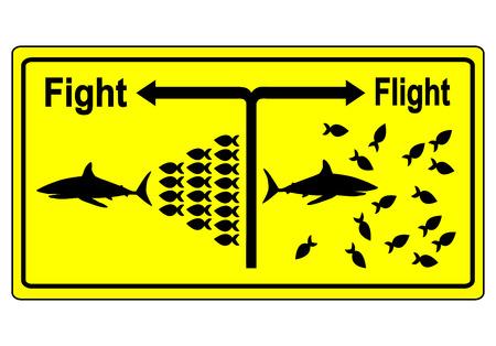 Fight or Flight. Zakelijke metafoor voor teambuilding en gezamenlijke strijd in moeilijke tijden in plaats van het opgeven van een voor een Stockfoto