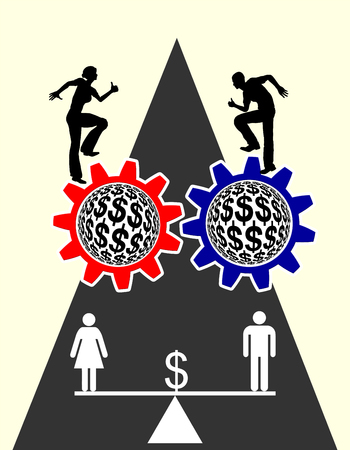 equal: Equal Pay. Concept sign voting for equal payment for men and women