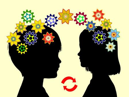 psicologia infantil: Concepto Kindergarten. Dos niños intercambiar ideas y aprender unos de otros de ser parte de la educación de la primera infancia Foto de archivo