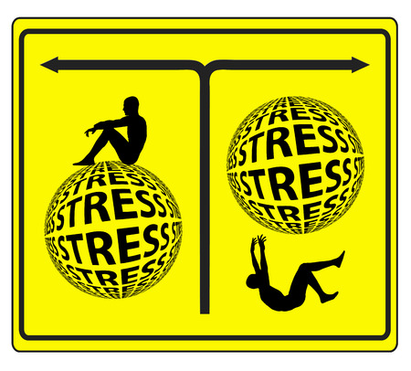 stress management: Stress Management Concept. Get over with stress and relax or get sick