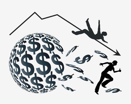 stock market crash: Money Crisis. Investors panicking, concept sign for monetary loss or stock market crash like on Black Friday Stock Photo