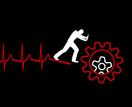lethal: Cardiac Death. Overwork and stress can lead to lethal heart attack Stock Photo