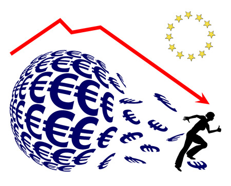 stockmarket: Euro Crash. Investor panicking, concept sign for monetary loss or stock market crash like on Black Friday