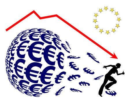 stock market crash: Euro Crash. Investor panicking, concept sign for monetary loss or stock market crash like on Black Friday