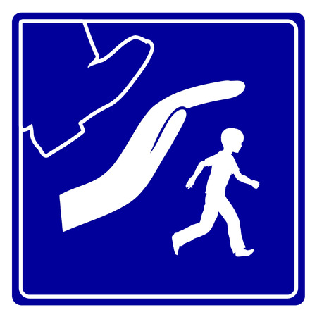 Save Kids from Violence. Concept sign to protect children from physical and psychological abuse 스톡 콘텐츠