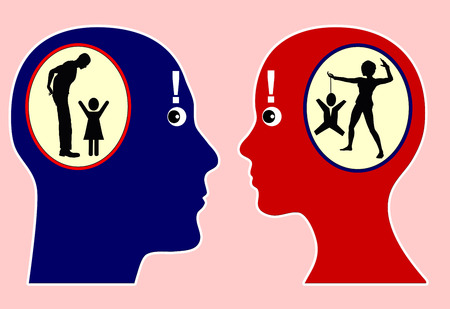 self awareness: Self Perception. Man and woman with discrepancy between self awareness and external perception, how we see and describe ourselves and how others see and would describe us
