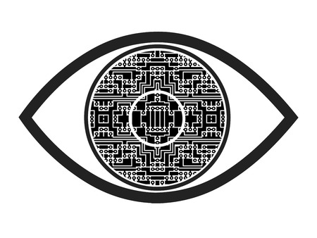 Bionic Eye. Concept sign and symbol for a visual prosthesis to restore functional vision Intended in case of blindness