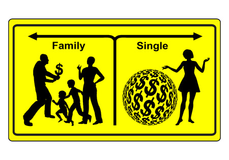 lifeform: Single or Family. Two different schemes of life, staying alone and be wealthy or raise a family with poverty risk Stock Photo