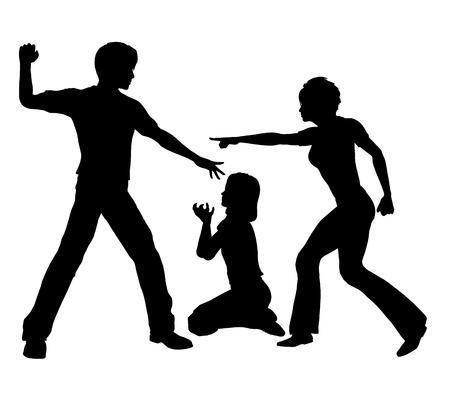 violencia intrafamiliar: Violencia Doméstica. El padre golpea a su hija mientras la madre trata de intervenir