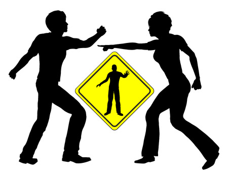 Family Mediation. Concept sign of a mediator accommodating a quarrel between man and woman