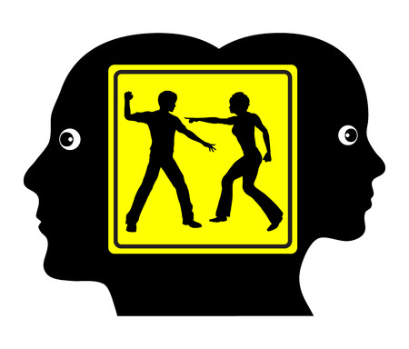 domestic violence: Domestic Conflict. Concept sign of couple facing severe partnership problems due to lack of communication Stock Photo