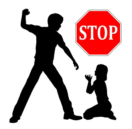 psicologia infantil: Pare el abuso infantil. El padre tiene que detener la violencia doméstica golpear a su hija