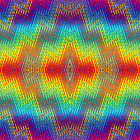Psychedelic Pattern. Seamless fuzzy pop art texture with optic three dimensional illusion