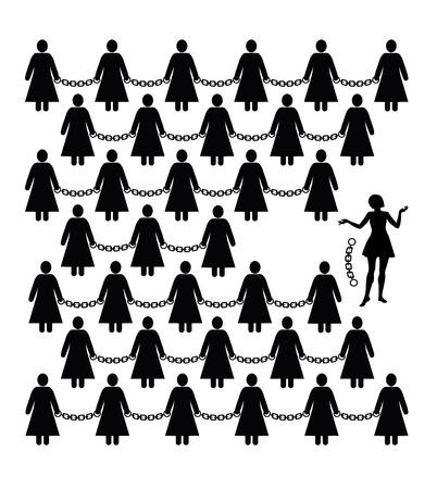 feministische: Feministische beweging. Concept teken voor vrouwen? S bevrijding tegen discriminatie en vrijheid