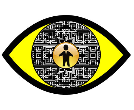 ray tracing: Digital Spy Eye. Sign and symbol for Full Body Scanner or overall security concept