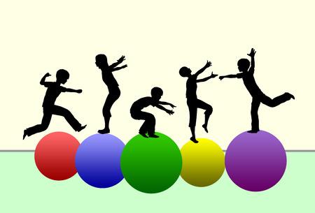 Développer les compétences de moteur. Concept de promouvoir le développement physique de la petite enfance par la gymnastique et les sports