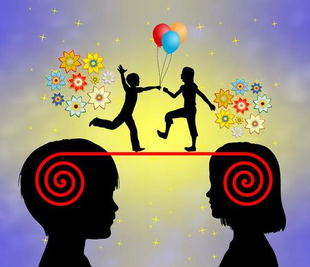 psicologia infantil: Amor en la primera infancia. Hacer amigos es parte del desarrollo emocional y social en la educación temprana Foto de archivo