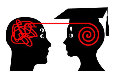 Universiteit Mentoring. Mentor helpt student in zijn academische studies Stockfoto