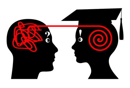 academic symbol: University Mentoring. Mentor assists student in his academic studies