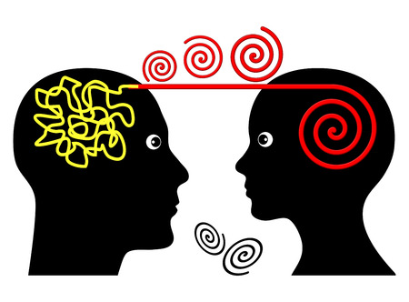 Psychotherapy Session. Psychotherapist treating patient with mental disorder 스톡 콘텐츠