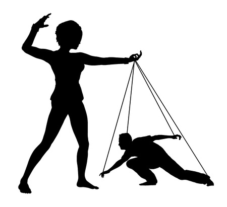 humiliation: Dominated Man. Woman treating man like marionette, concept sign of humiliation and domination Stock Photo