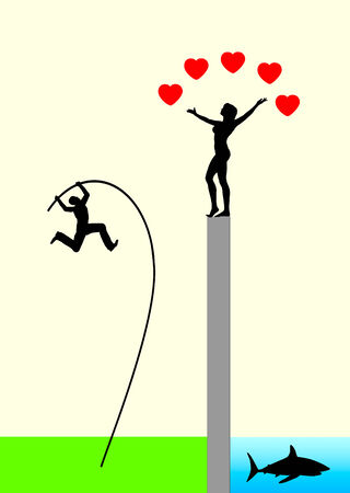 unease: Risk of Love. Love is Blind Concept, man in love with doubtful chances and shady prospects Stock Photo