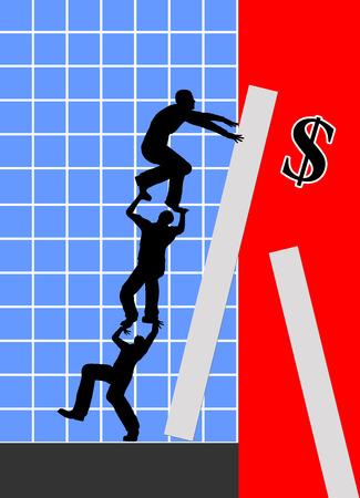 encogimiento: Slump Profit. Met�fora del asunto para el juicio desesperada o tres hombres de negocios para combatir la crisis Foto de archivo