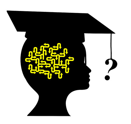 newcomer: Questions after Graduation. Young graduate with many open questions as a professional newcomer depending on a vocational counselor Stock Photo